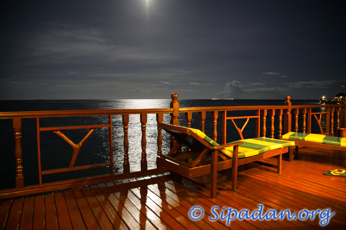 Deck at night at Sipadan Water Village resort